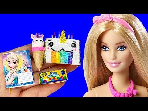 12 DIY Barbie Hacks Miniature School Supplies, Makeup Kit, Diy Dollhouse, More Barbie Crafts