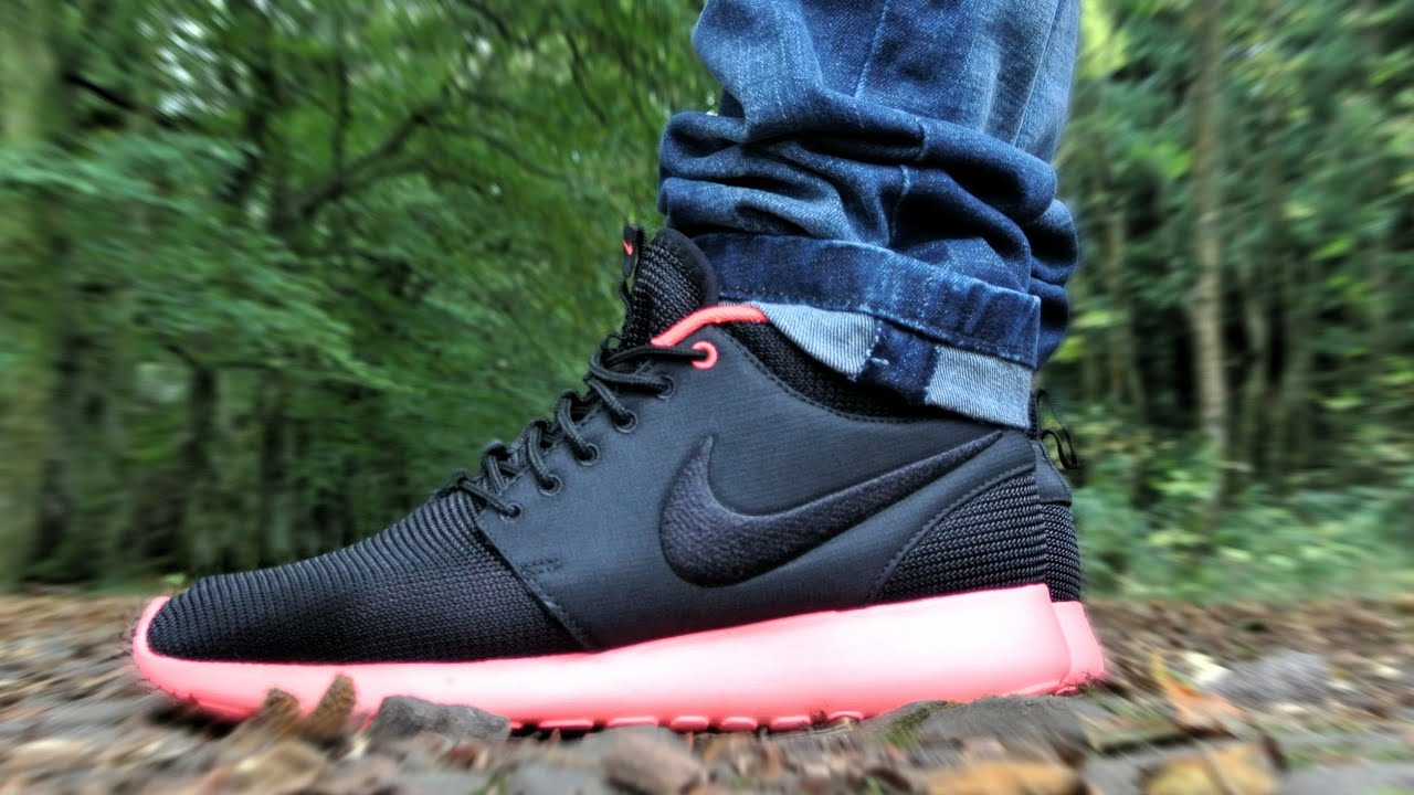 100% authentic 42656 08d76 Nike Roshe Run MID Black Atomic Red Review + On Feet HD