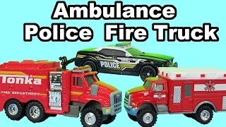 Toy Ambulance vehicle Police Car and Fire Truck unboxing presentation