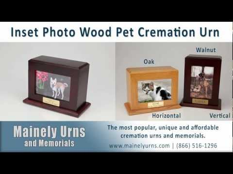 Pet Urns With Inset Photo | Wood Pet Cremation Urn In Walnut And Oak