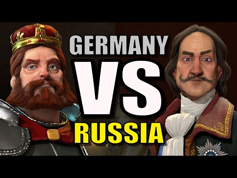 GERMANY VS RUSSIA!! | Civilization 6: AI Only 1v1 [Civ 6 Gameplay] Frederick vs Peter the Great! |