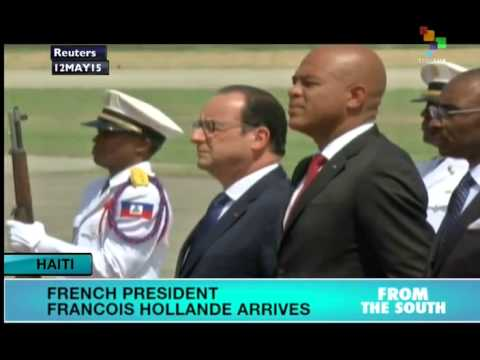 French President Hollande Arrives in Haiti