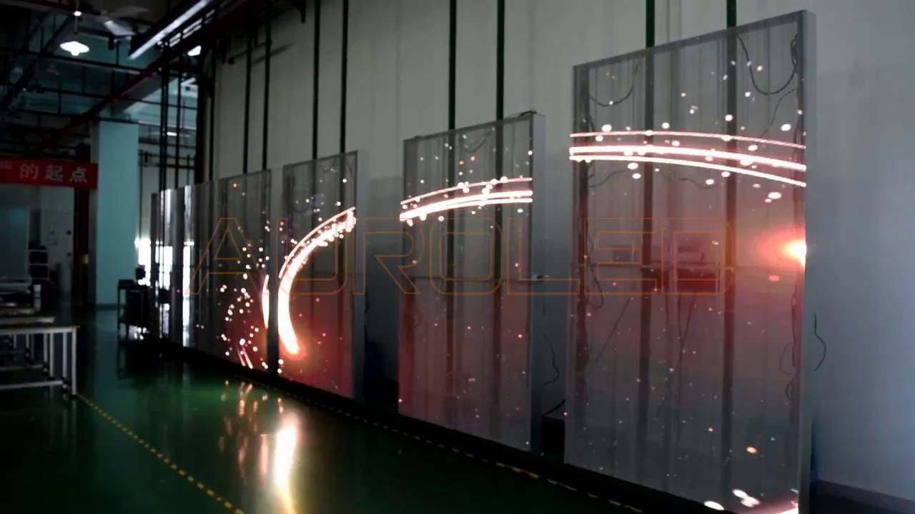 transparent led display, see through led display aging test - AUROLED -  YouTube
