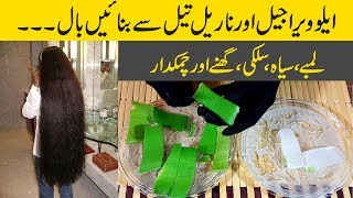 Aloe Vera Hair Growth Oil for Thick Hair, Silky Hair, Black Hair & Longer Hair Homemade Urdu Hindi thumbnail