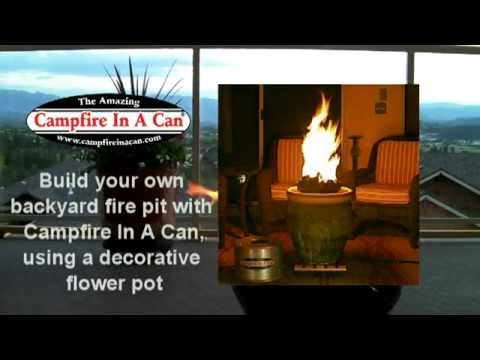 DIY Campfire In A Can in decorative flower pot - YouTube
