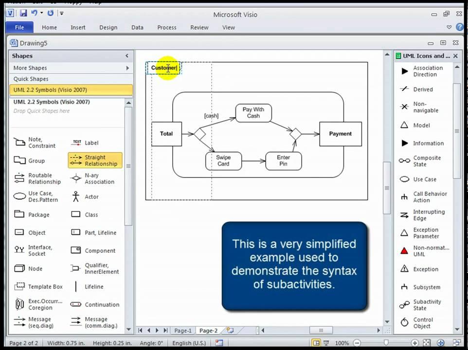 visio activity diagram ford ranger wiring diagrams uml 2 tutorial and subactivities youtube premium