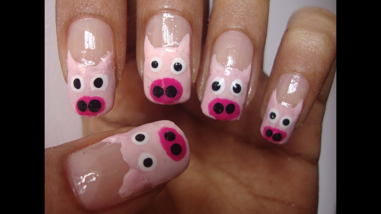 Cute and easy pig nail art tutorial - YouTube
