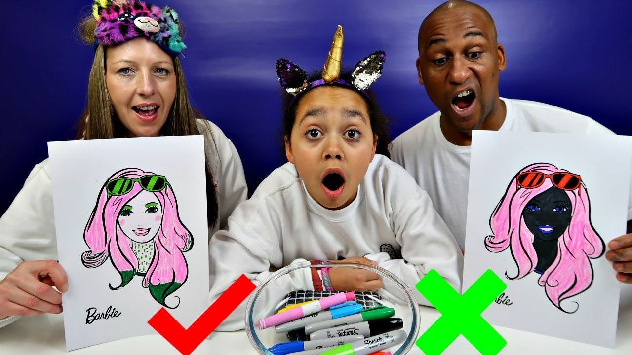 3 Marker Challenge With Barbie Mum Vs Dad Edition Youtube