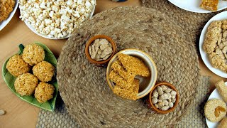 Zoom out shot of beautifully plated Lohri items for Pujabi's Lohri festival in India