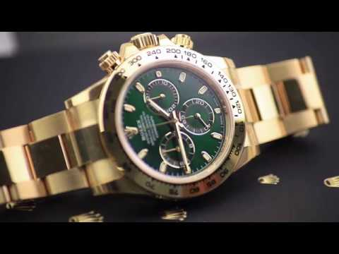 Rolex Daytona 116508 Green Dial Yellow Gold Presentation Video