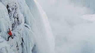 Raw: Climber First to Scale Ice at Niagara Falls
