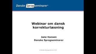 Webinar om dansk korrekturlæsning