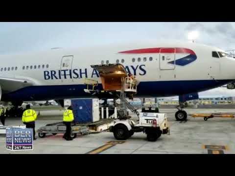 Vaccine Unloaded From BA Flight, Jan 8 2021