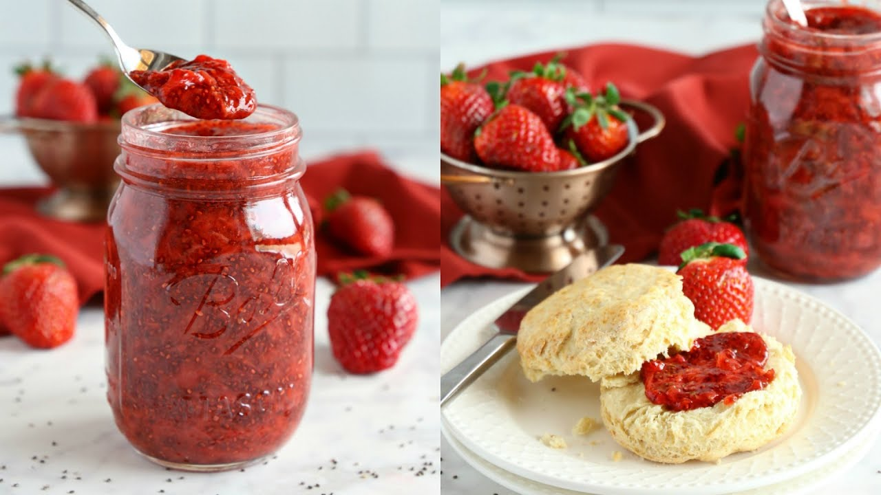 Easy 3-Ingredient Chia Seed Strawberry Jam - The Busy Baker