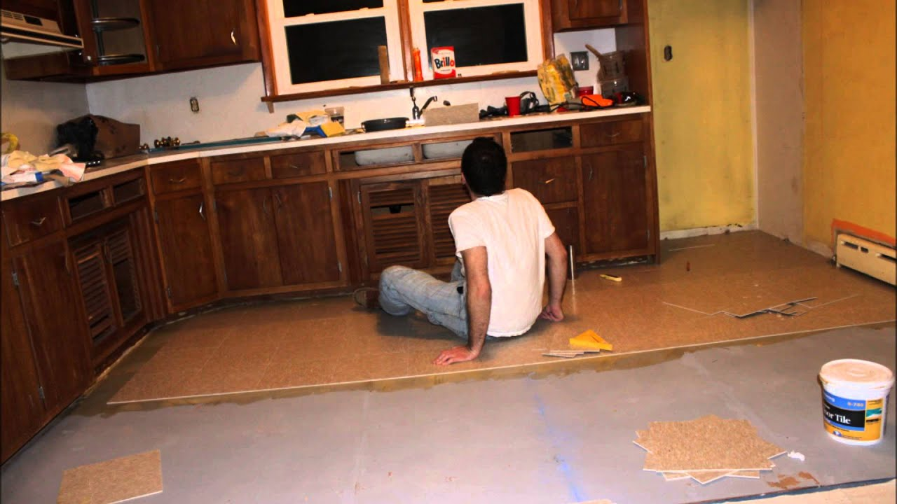Time lapse kitchen vct tile floor laying installation for Kitchen flooring installation