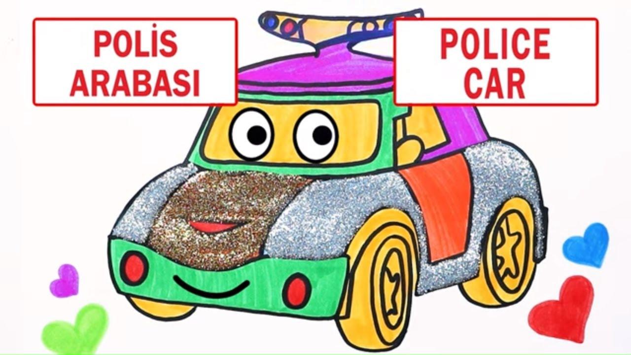 Polis Arabasi Ciz Ve Boya Renkleri Ve Tasitlari Ogreniyorum