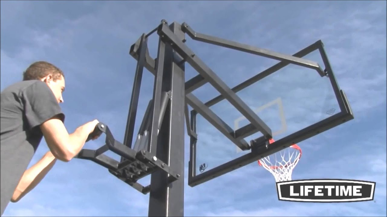 Mammoth 72 inch inground basketball goal model 90181 youtube for How to build a basketball goal