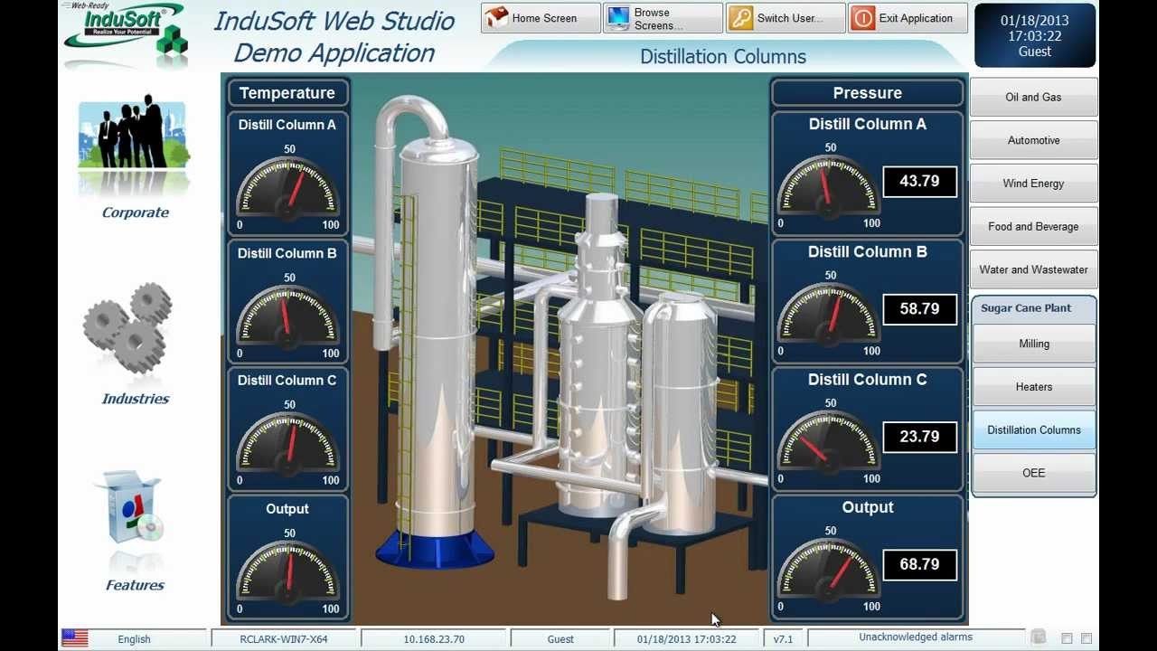 Sugar Processing SCADA with InduSoft Web Studio