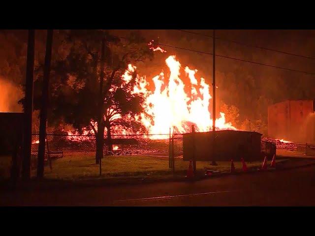 SCENE: Jim Beam warehouses catch fire