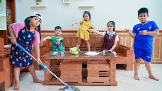 Kids Go To School | Chuns Learn To Clean The House Brother Bully Sister