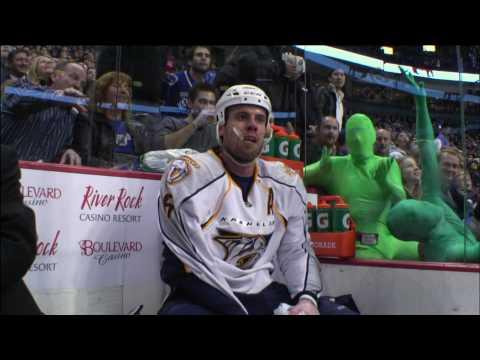 Green Spandex Men Mocking the Opposition Players - Canucks Vs Predators - 12.22.09 - HD