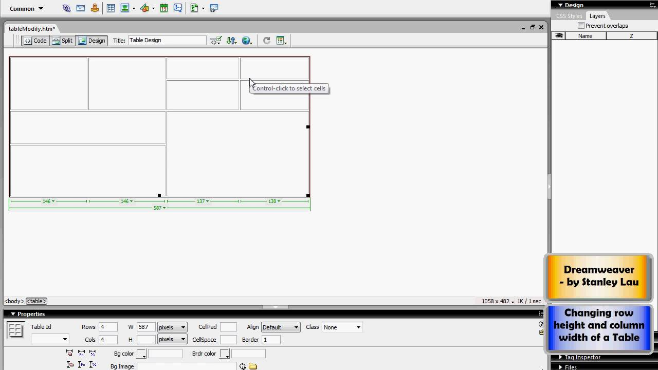 Dreamweaver 18 Changing row height and column width of a Table - YouTube