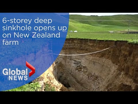 6-storey deep sinkhole opens up on New Zealand farm