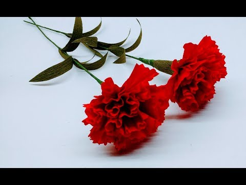 How to make Crepe Paper Flowers Red Carnations (flower # 236)