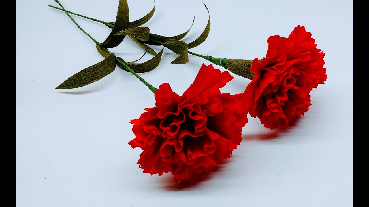 How To Make Crepe Paper Flowers Red Carnations Flower 236 Youtube