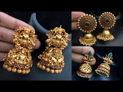 Latest Beautiful Antique & Matte Gold Jhumka designs 2019 || New Gold Earrings Collection