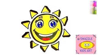 Sun emoji drawing Easy step by step art
