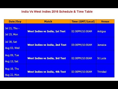 India Vs West Indies 2016 Schedule & Time Table