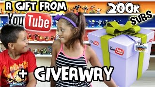 a gift from youtube 200k subscribers giveaway skylander boy girl contest silver play button