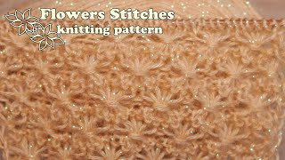 Цветочный узор спицами 🌺 Flowers Stitches knitting pattern