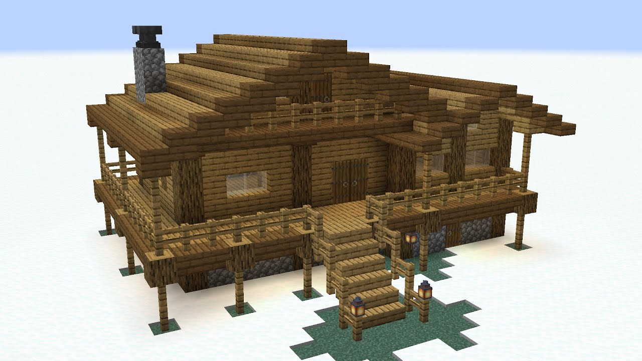 Minecraft - How to build a wooden winter house