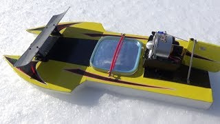 Rc boat ducted fan 14.8 v on snow,jumping,fun.