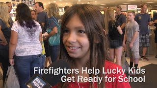 Firefighters Help Lucky Kids Get Ready For School (gilbert, Az)