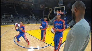 Trick shots with Golden State Warriors | Harlem Globetrotters