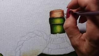 Garrafão uvas e queijo – Vídeo 2 – Pintura em tecido