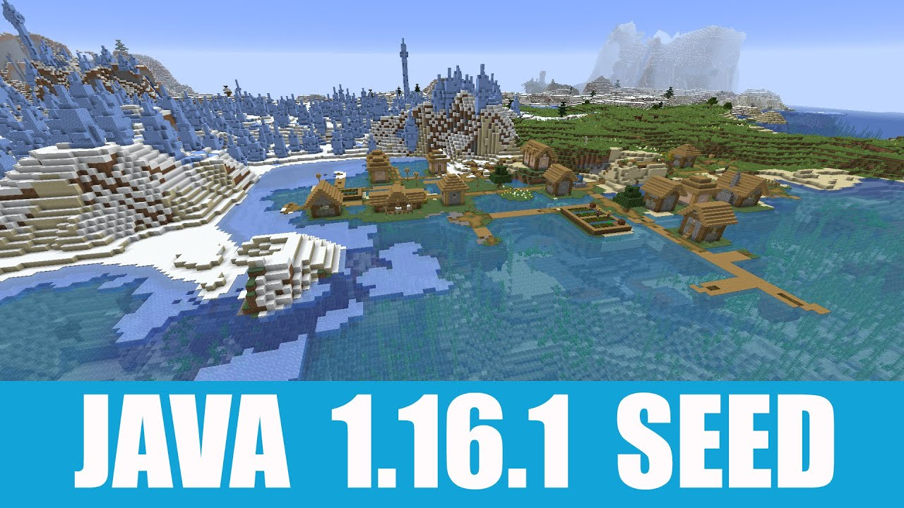 Minecraft Java 100.1006.100 Seed: Spawn in a village that stands on a frozen  ocean shore at the ice spikes