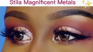 New Stila Magnificent Metals Glitter & Glow Liquid Eyeshadow Swatches, Tutorial & Review.