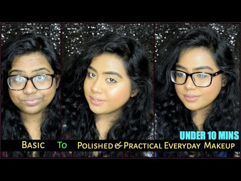 EVERYDAY EASY MAKEUP LOOK *WITHOUT FOUNDATION* FOR COLLEGE/OFFICE/GLASSES | SUMMER  2018 | INDIA