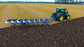 On-Land Ploughing | John Deere 7270R + 8 furrow Lemken Diamant 11 | KMWP Ploegen / Pflügen