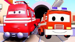 Troy der Zug und  Feuerwehrauto in Car City, Auto & Lastwagen Cartoons für Kinder 🚆🚒