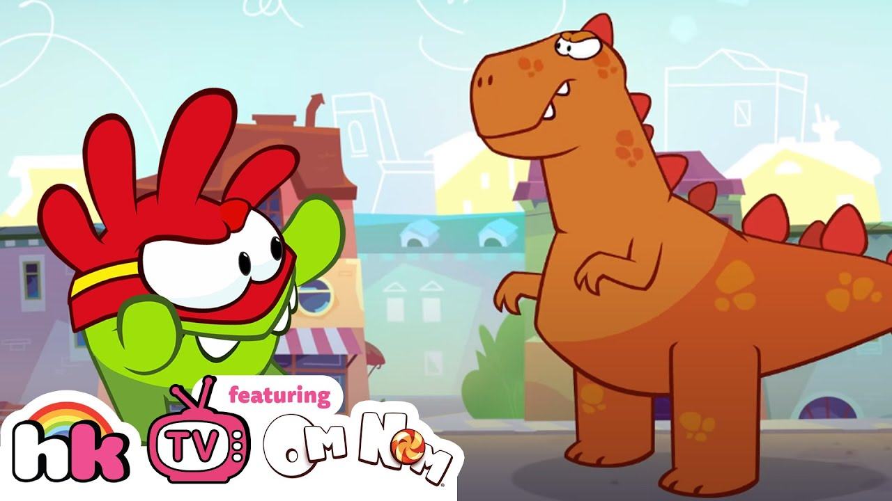 Om Nom Stories: Supernoms vs Giant Dinosaur | Cut the Rope | Funny Cartoons | HooplaKidz TV