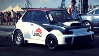 fiat 126p with bmw turbo engine vs audi a8 drag race hd