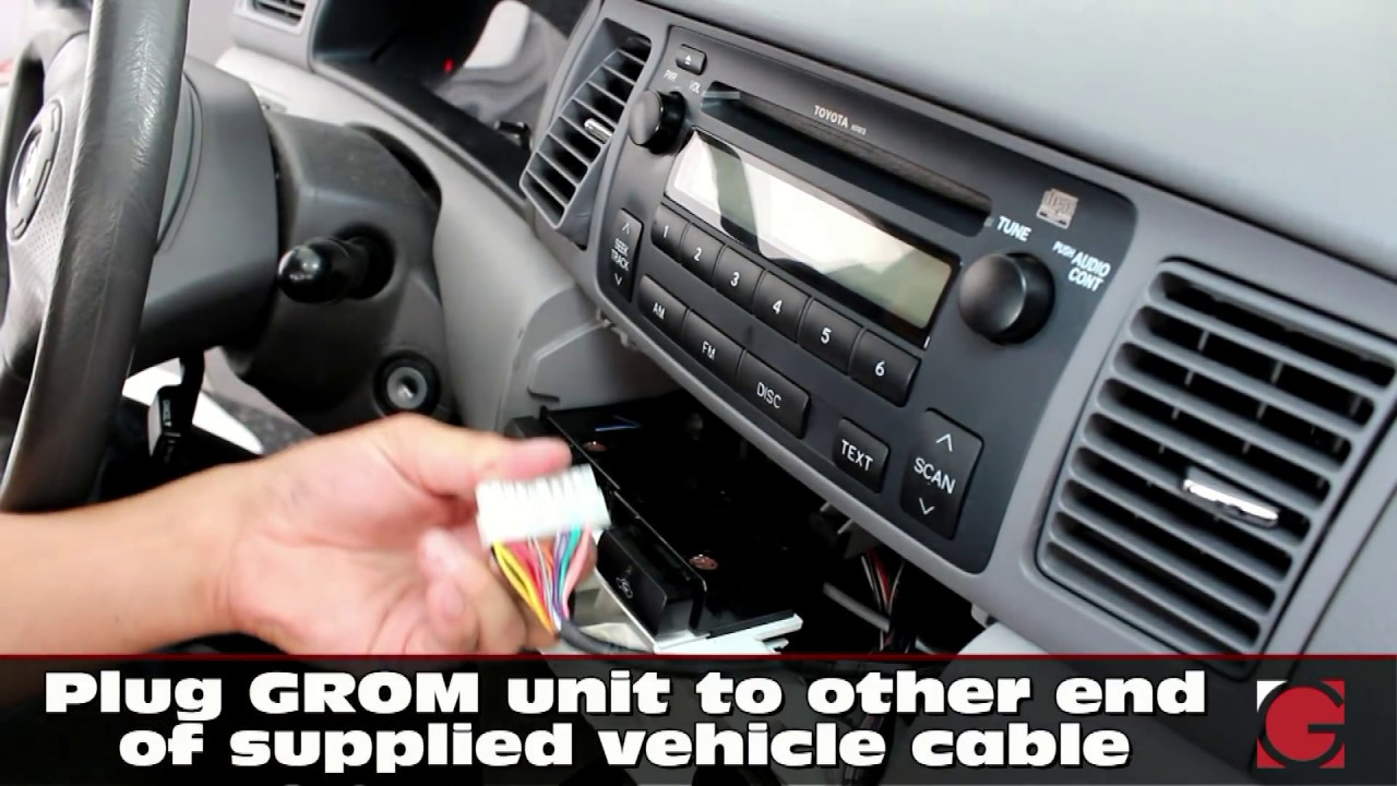 toyota corolla 2002 2003 2004 2005 2006 2007 2008 grom usb iphone android bluetooth kit install [ 1280 x 720 Pixel ]