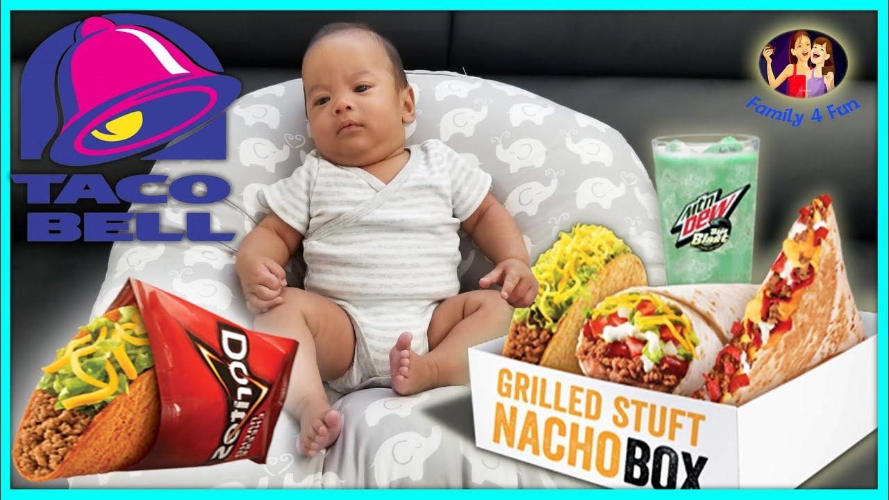 Baby Taco Bell 5 Cravings Deal 5 Steak Burrito Deal Big Box Food Review Family 4 Fun Vlog 2017