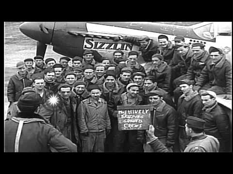 USAAF pilots, from 334th Squadron, 4th Fighter Group, talking to ground crews at ...HD Stock Footage