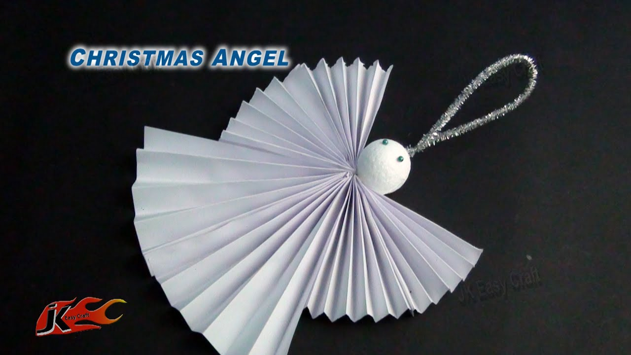 diy easy paper christmas ornament angel how to make school project for kids jk easy craft 099 youtube